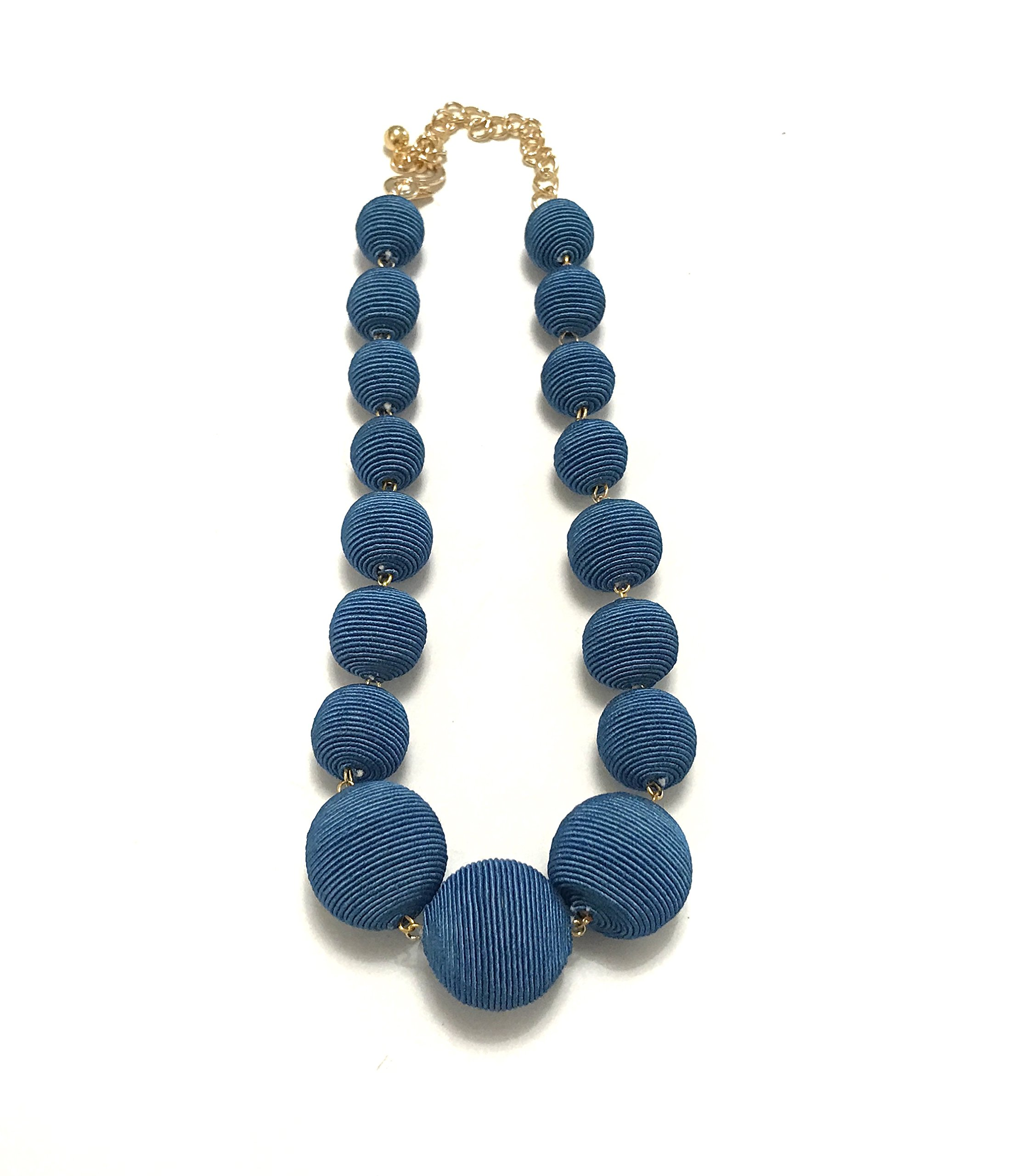 Kenneth Jay Lane-Graduating Thread Ball Necklace-Navy by Kenneth Jay Lane