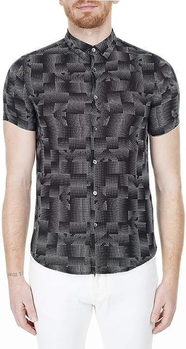 Emporio Armani S/S Logo Dot Print Slim Fit Camisa Negro 3H1C91 1NREZ: Amazon.es: Ropa y accesorios