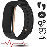 Fitness Activity Tracker 24/7 Heart Rate Monitor with Blood Pressure, Armband Waterproof Pulse Meter Sport Smart Watch and AutoSleep Recognition Step/Calorie Counter SMS Call Notification n more