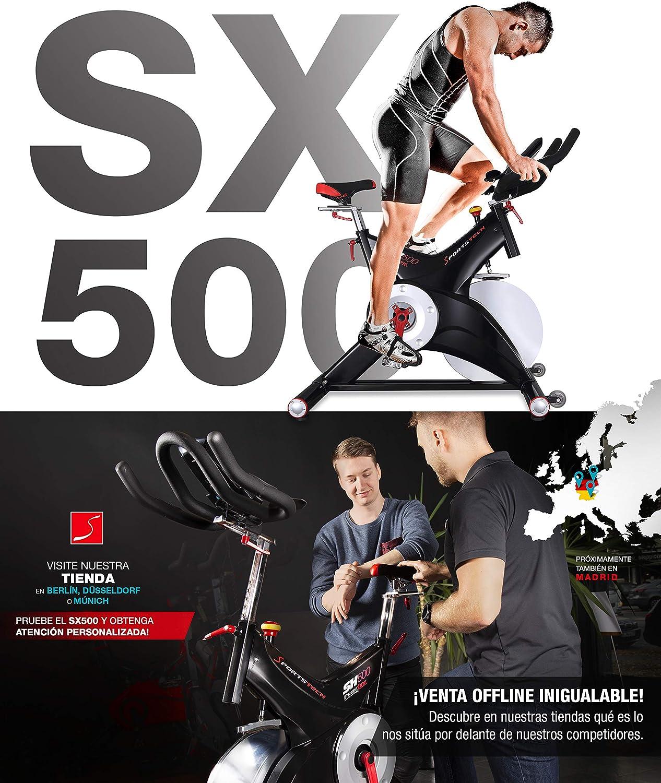 Sportstech Bicicleta estática profesional SX500 -Marca de Calidad Alemana -Eventos en vivo y App Multijugador, volante de 25KG, compatible con ...