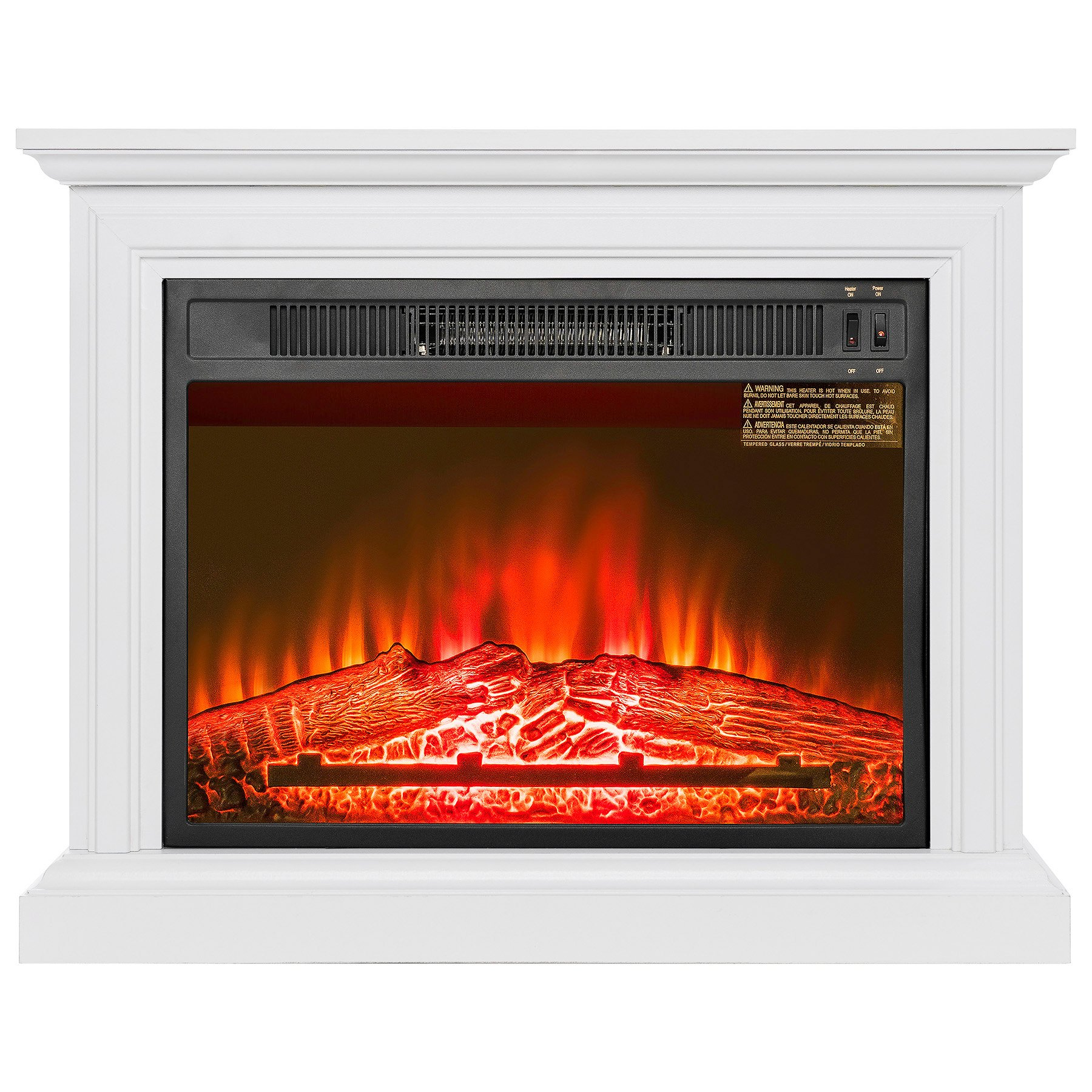 FIREBIRD 31'' White Wooden Finish Push Button Freestanding Insert Electric Fireplace Stove Heater