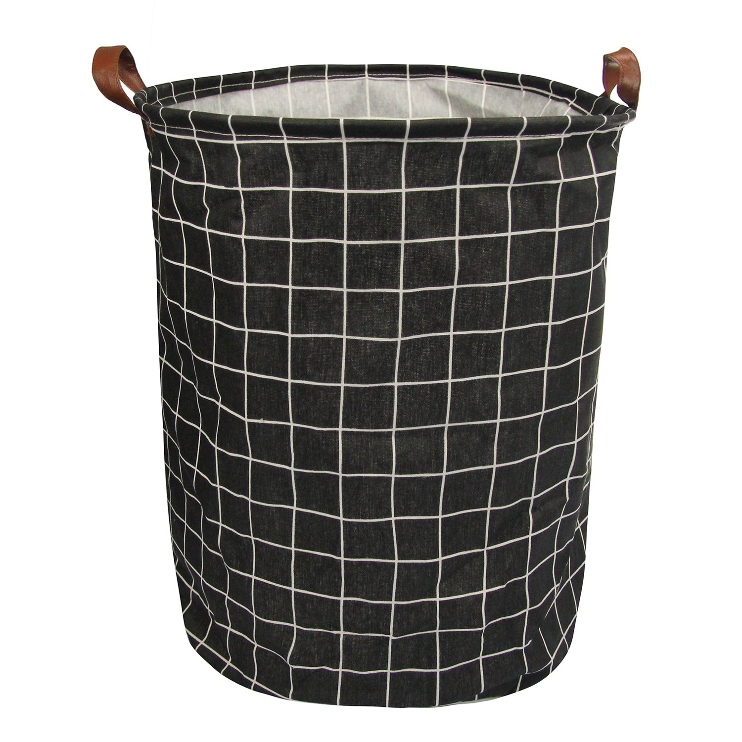 Lastia Dirty Clothes Laundry Toy Storage Basket Canvas for Bedroom Bathroom Kids Black and Plaid 15.7x15.7x19.7