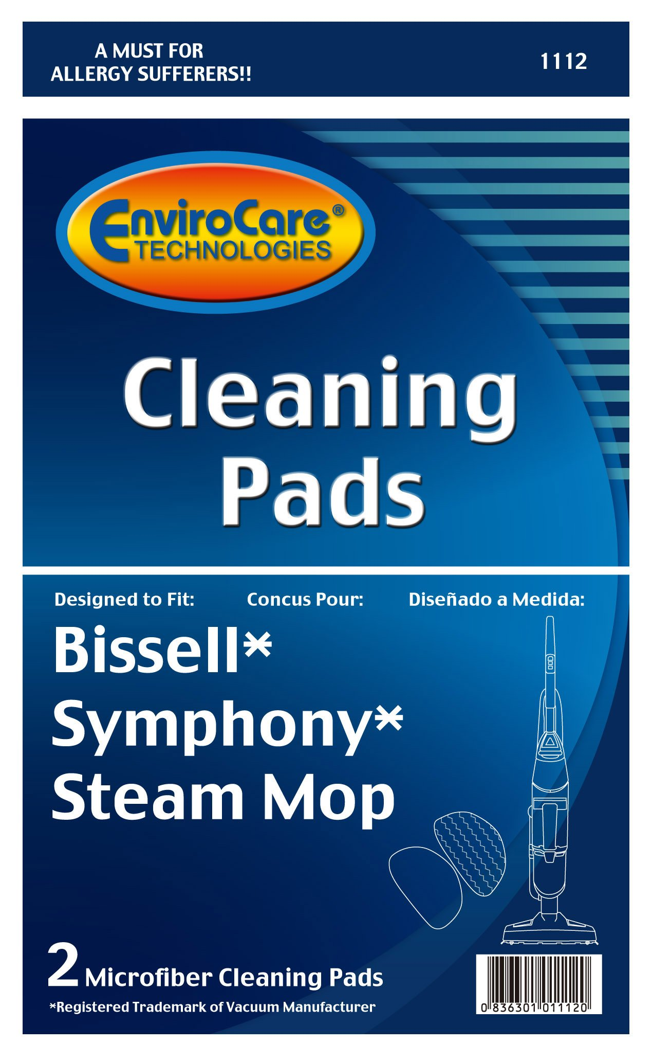 EnviroCare Replacement Cleaning Pads designed for Bissell Symphony Steam Mop 2 count