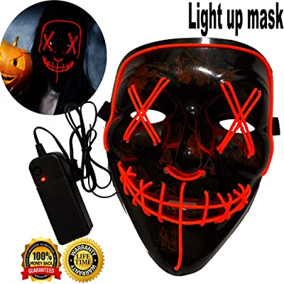 Halloween Mask Neon Mask led mask Scary Mask Light up Mask Cosplay Mask Lights up for Halloween Festival Party (Vmask Mask Red): Clothing