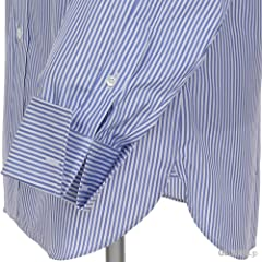 Turnbull & Asser Bengal Stripe Cotton Shirt with Classic T&A Collar MSHI072: Z1049 Blue