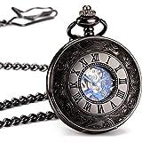 ManChDa® Antiguo Reloj de bolsillo mecánico Solo cazador Caso de hueco negro brillante Esfera esqueleto retro con movimiento de plata para los hombres Mujeres con cadena + Caja regalo