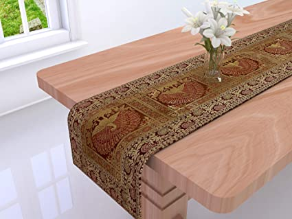 DARJII Silk Brocade Beautiful Peacock Decorative Table Cover (Brown)