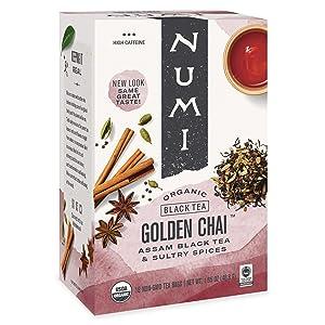Numi Organic Tea Golden Chai, 18 Count Box of Tea Bags (Pack of 3) Black Tea (Packaging May Vary)