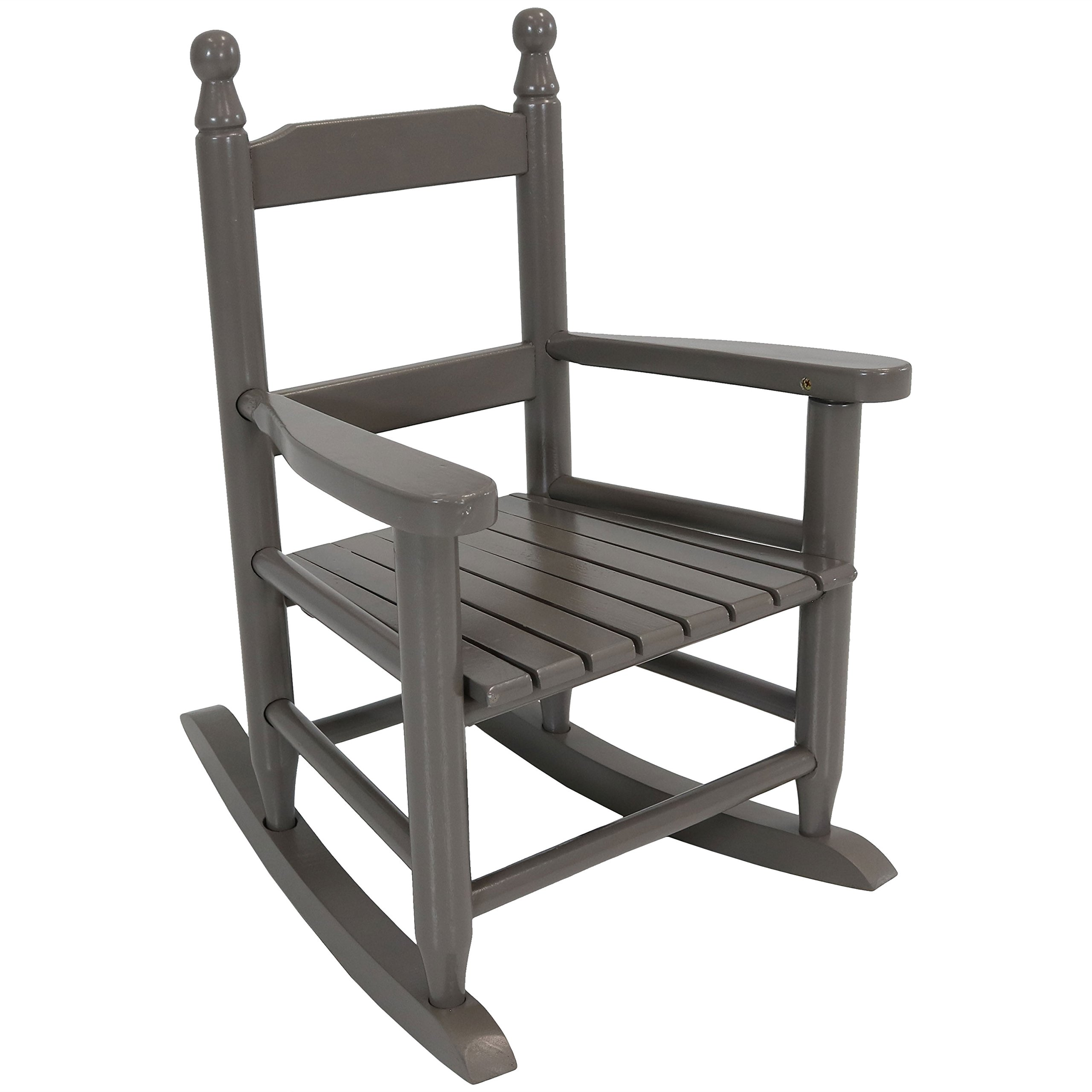 Sunnydaze Toddler Modern Wooden Rocking Chair with Non-Toxic Paint Finish, Fits Most Children Under 3 Feet Tall, Gray
