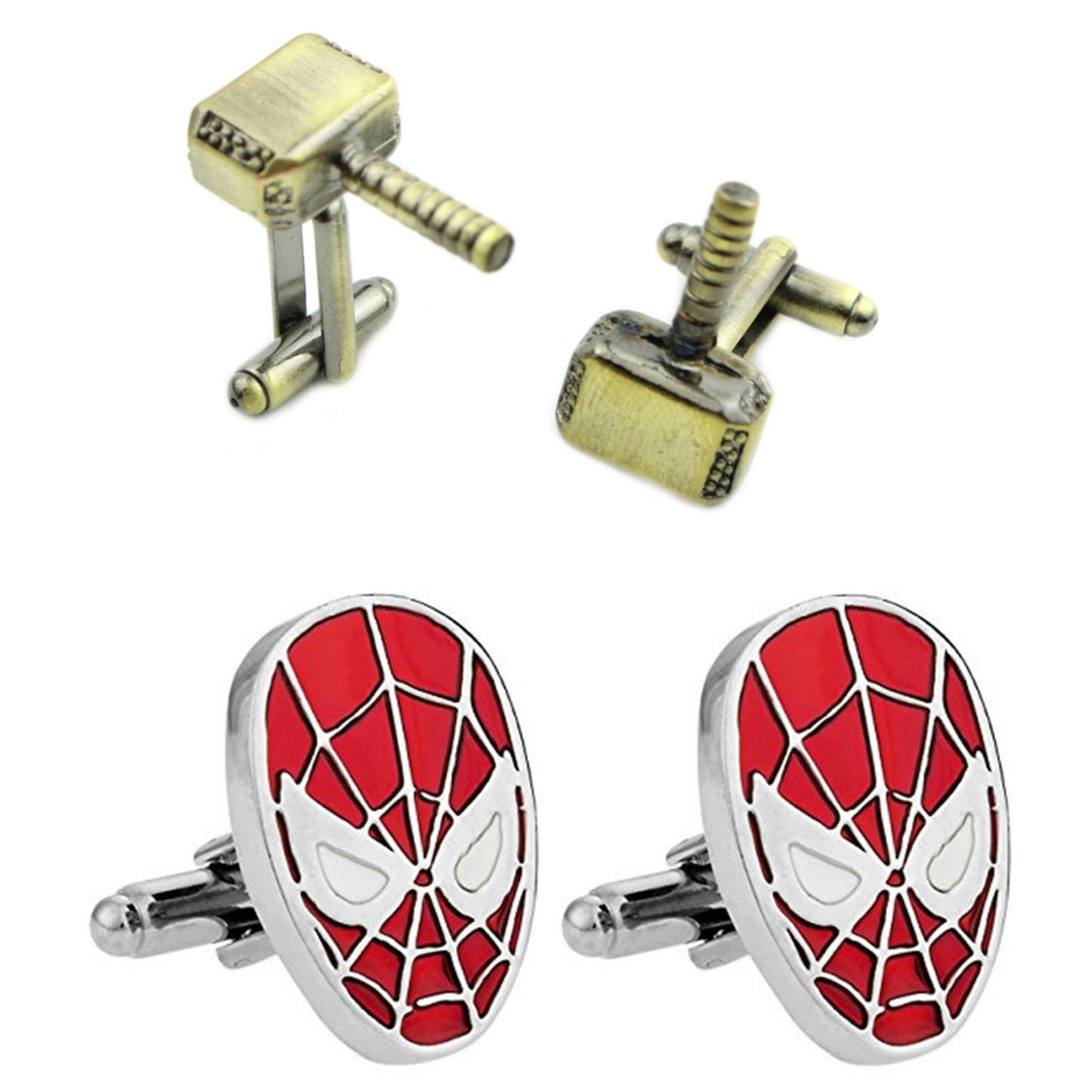 Outlander Gear Marvel Comics 2 Pairs Thor Bronze Hammer & Spiderman Superhero 2018 Movie Mens Boys Cufflinks