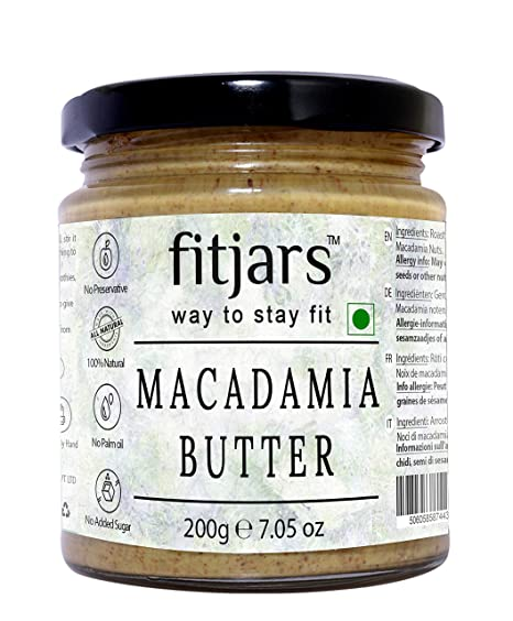 FitjarsAll Natural Keto Macadamia Butter Smooth Unsweetned & Unsalted , Stone Ground Keto Diet Vegan Butters -200 gm