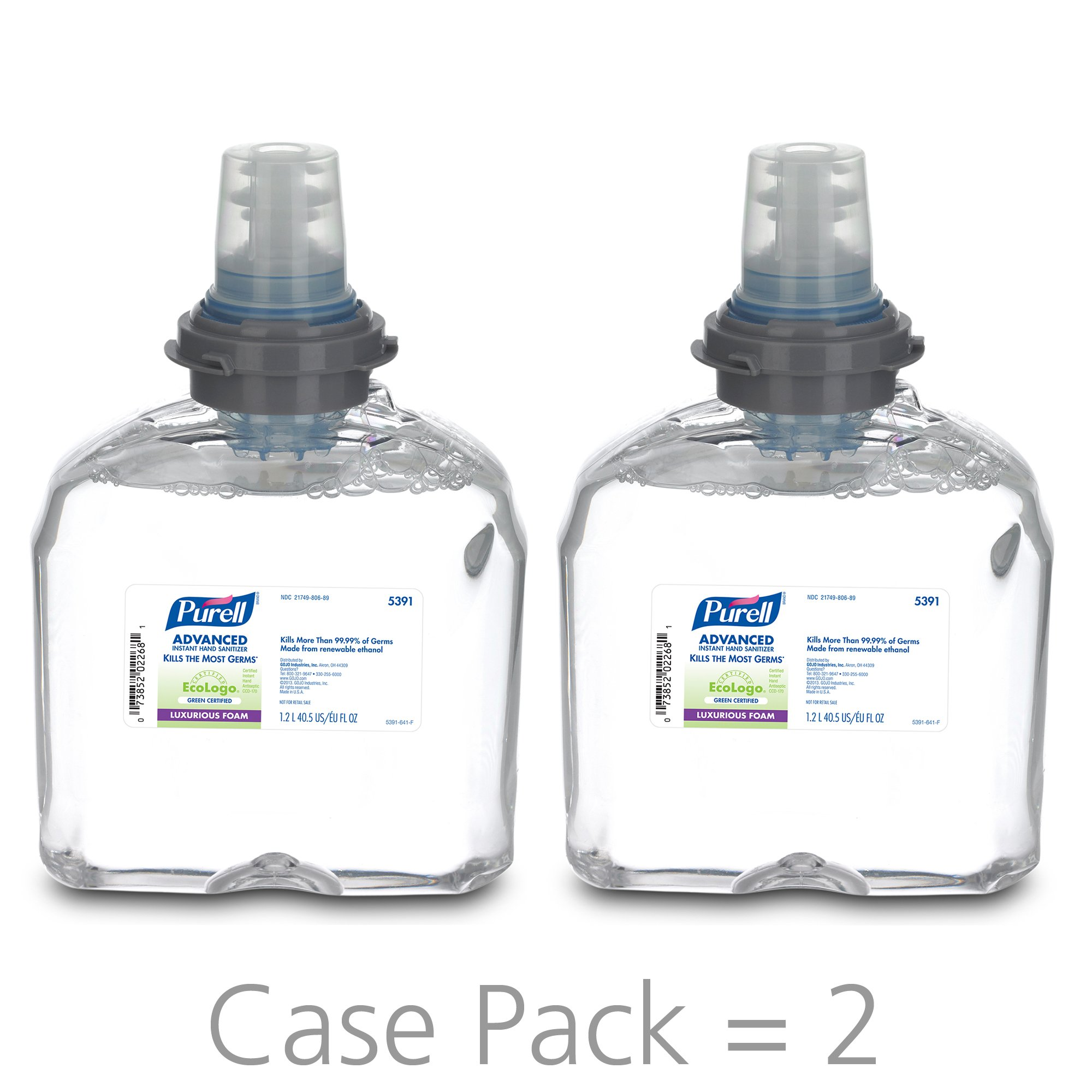 PURELL Advanced Green Certified Instant Hand Sanitizer Foam, 1200 mL Hand Sanitizer Foam Refill for PURELL TFX Touch-Free Dispenser (Pack of 2) - 5391-02 by Purell