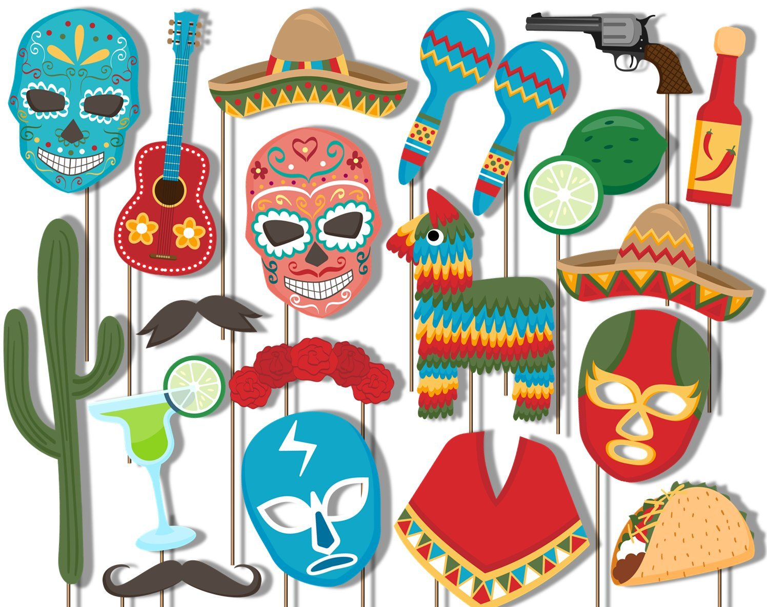 Mexican Fiesta Photo Booth Props Kit - 20 Pack Party Camera Props Fully Assembled