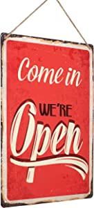 """Monarch Housewares Tin Metal Sign - """"Come in We're Open"""" – Distressed, Reproduction, Retro, Door Sign, Wall Decor"""