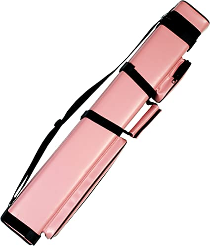 Billiard Pool Cue Stick Carrying Hard Case Holder Adjustable Shoulder Strap Pink
