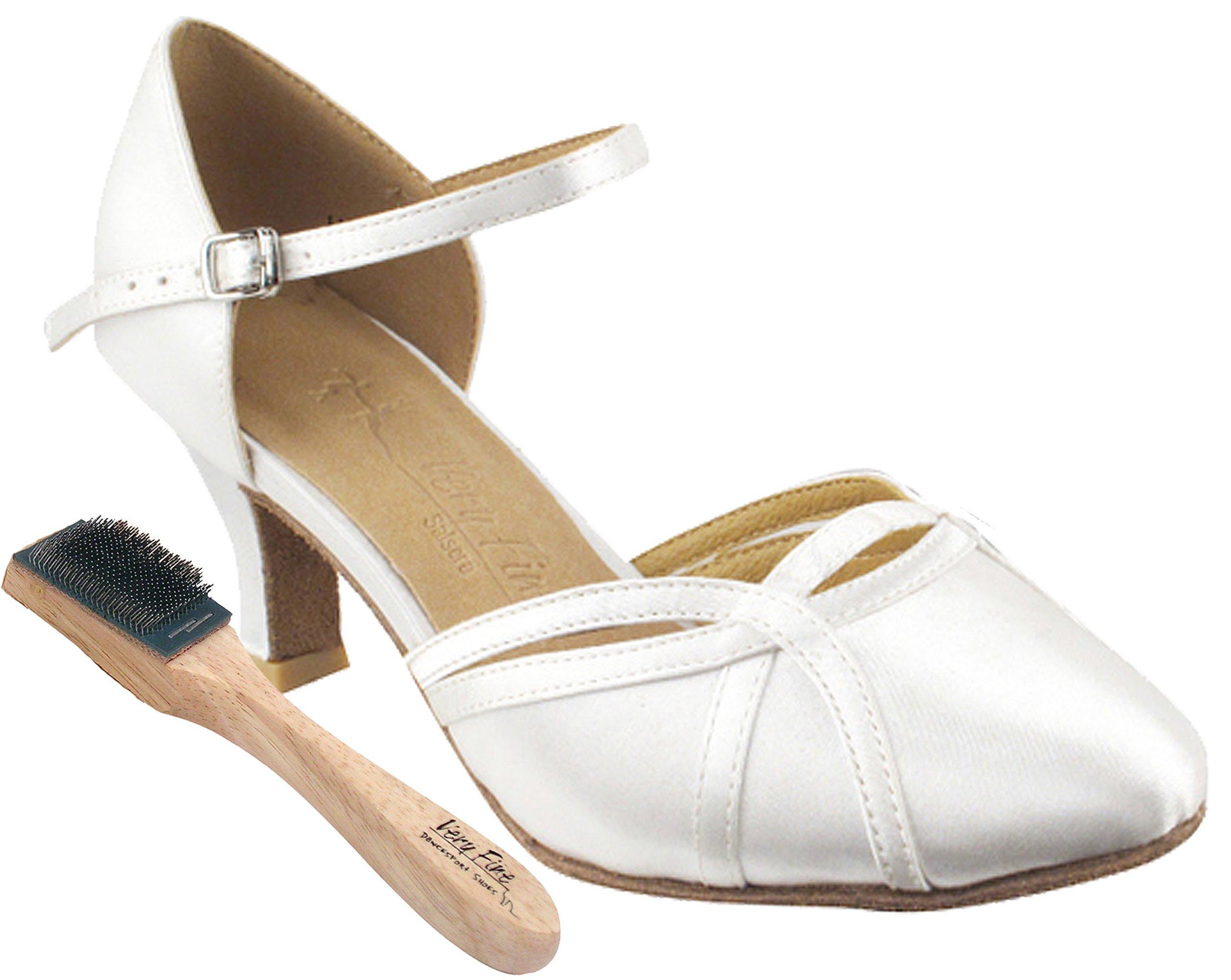 Very Fine Women's Salsa Ballroom Tango Dance Shoes Style Sera 3540 Bundle with Dance Shoe Wire brush, White Satin 9 M US Heel 2.5 Inch