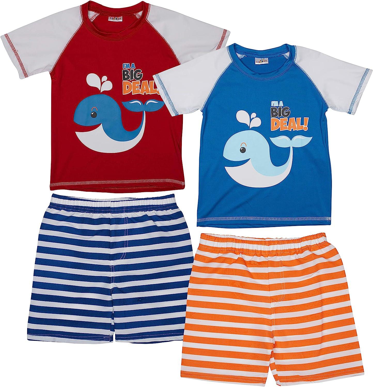 Size 4T Whale Infant//Toddler//Big Kid Sweet /& Soft Boys UPF 50+ Boys Short Sleeve 4 Piece Rash Guard /& Trunk Swimsuit Set
