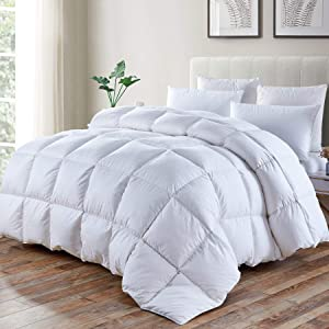 Luxurious Goose Down Comforter, Duvet Insert Queen Size, All Seasons, 42 oz Fill Weight, 750+Fill Power, 1200 Thread Count, 100% Cotton Shell with 8 Tabs, Hypo-allergenic ( Queen,Dobby Checkered )