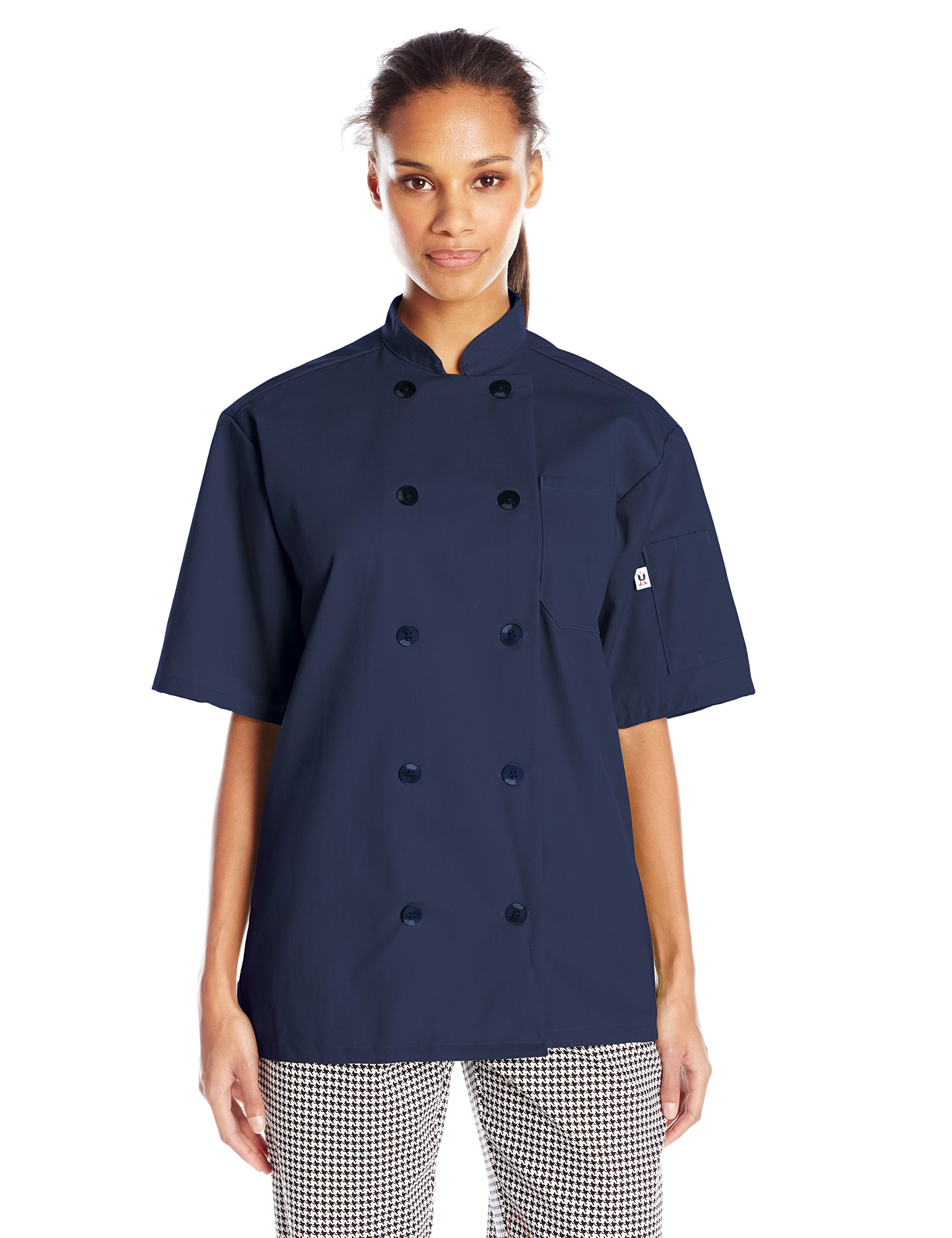 Uncommon Threads Unisex South Beach Chef Coat Short Sleeves, Navy, Medium