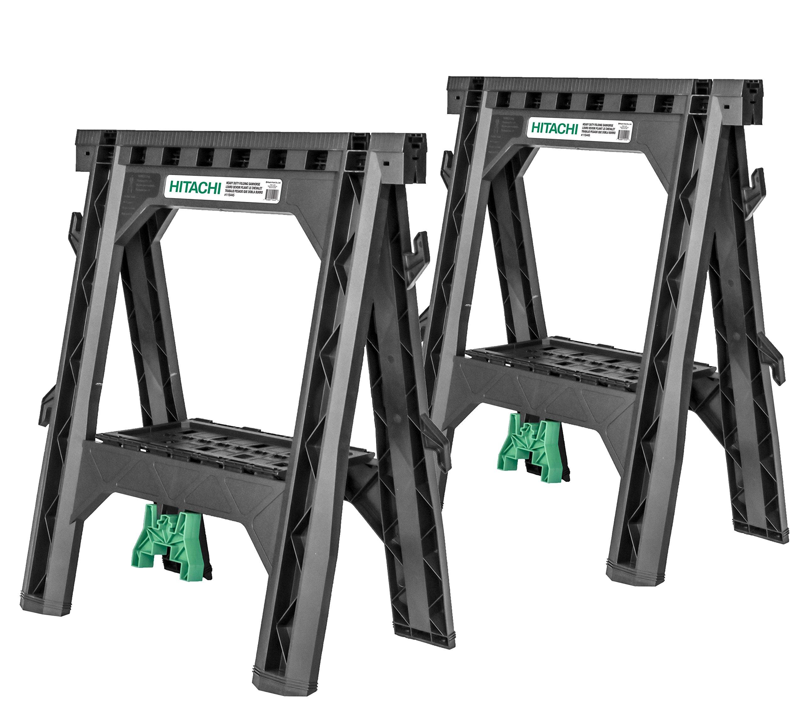 Hitachi 115445 Folding Sawhorses, Heavy Duty Stand, 4 Sawbucks, 1,200 lb Capacity, 2 Pack by Hitachi
