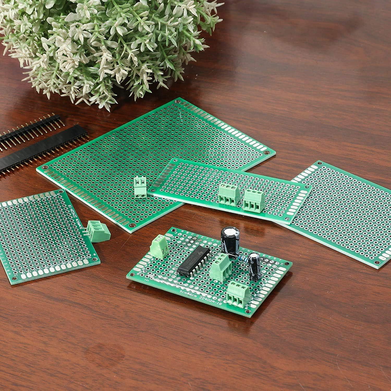 2X8cm 3X7cm 4X6cm 5X7cm 6X8cm 7X9cm pour le Projet de Soudage Yizhet 40 Pcs Panneau de PCB Prototype Carte de Circuit Imprim/é /à Double Faces Universelle 6 Tailles Compatibles avec Arduino