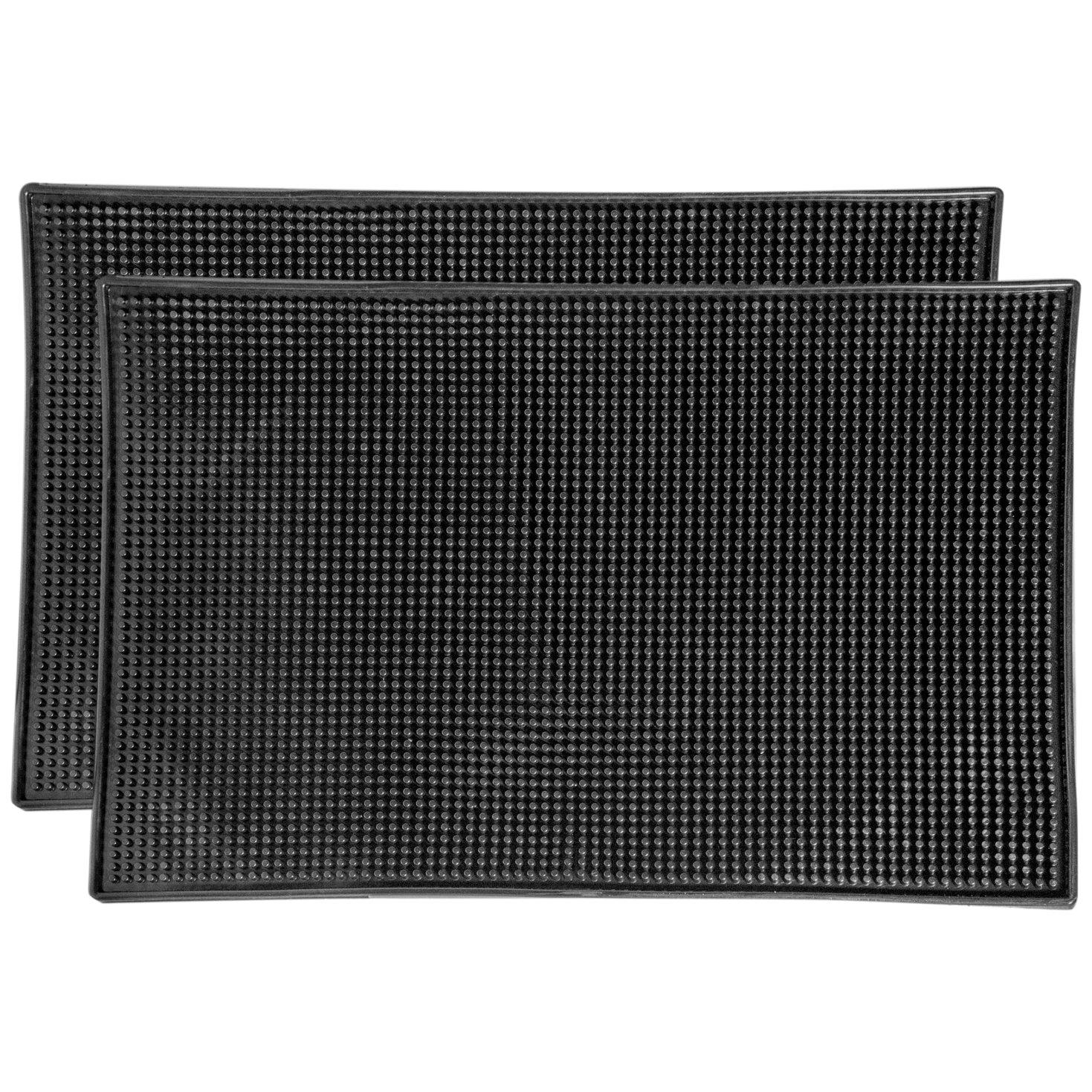 BonBon Professional 18'' x 12'' Rubber Bar Service Mat with Trim (2 Pack)