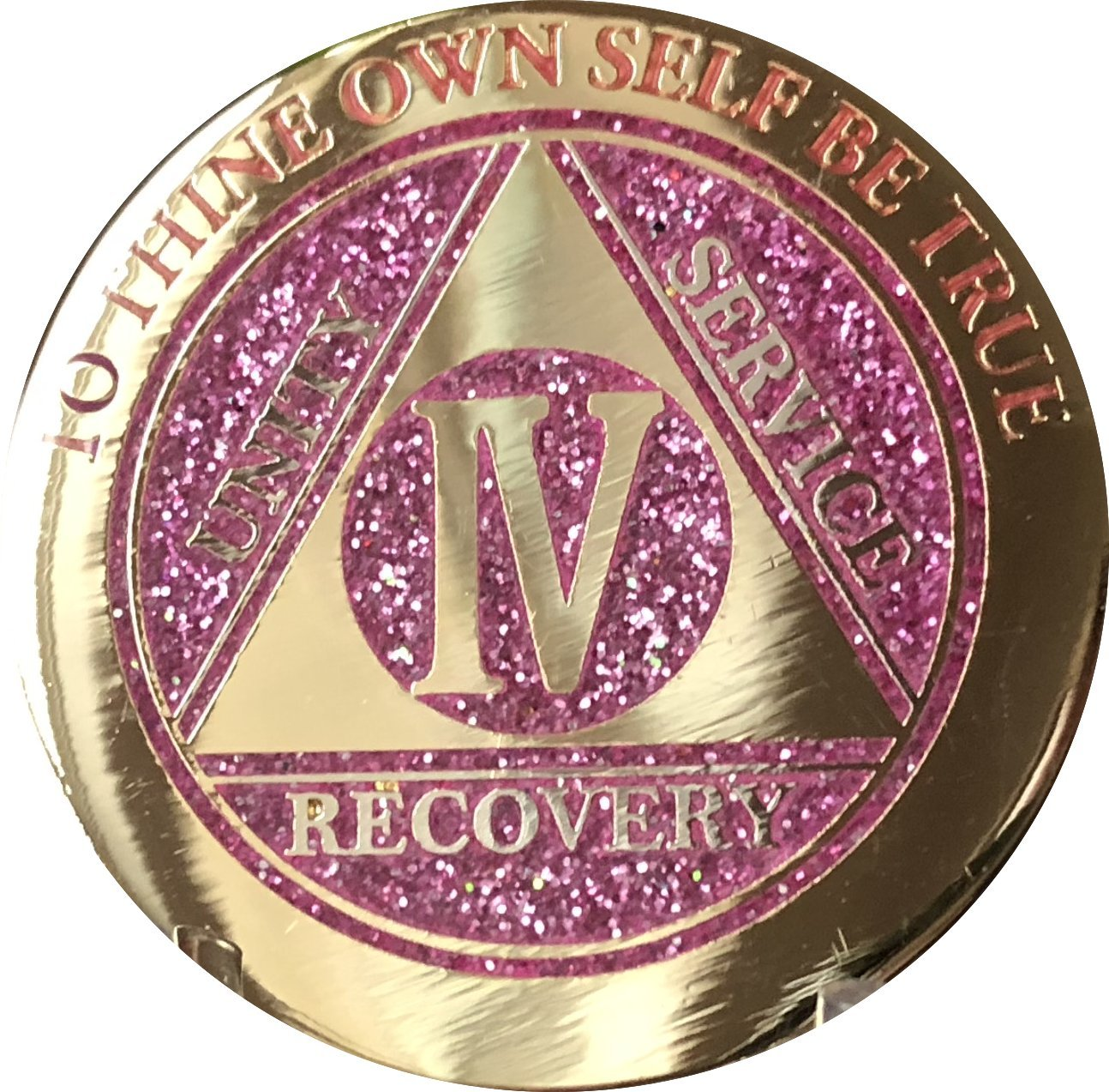4 Year IV Touching Numbers AA Medallion Elegant Glitter Pink Gold Silver Bi-Plated Chip