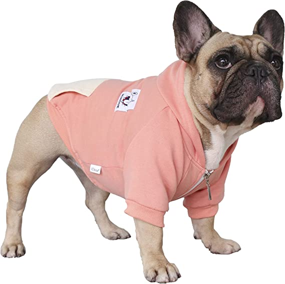 Meioro Dog Sweater Zipper Hooded Dog Cat Clothes Cute Pet Clothing Warm Hooded Winter Warm Puppy French Bulldog Pug