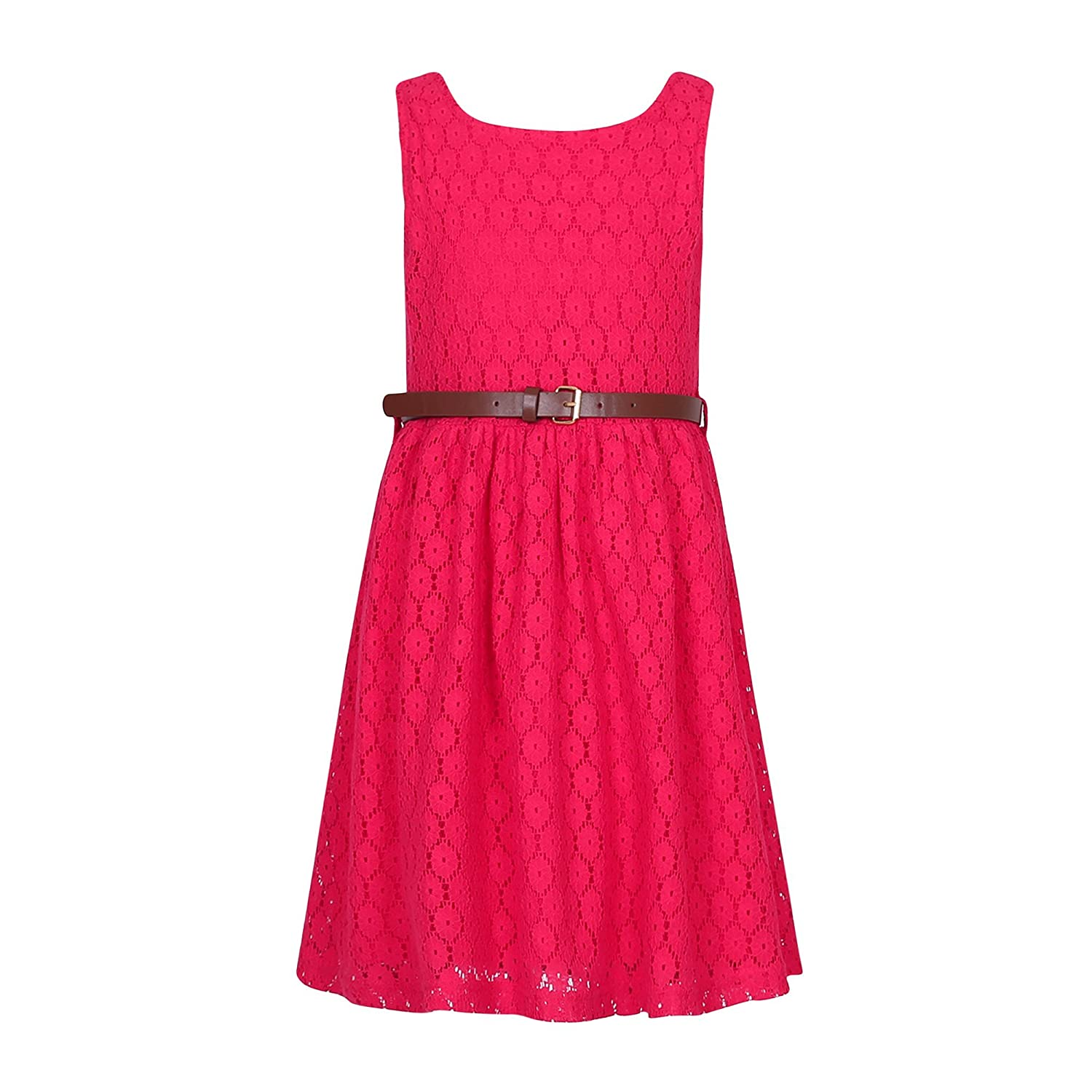 Richie House Girls' Sweet Lace Sleeveless Dress with Belt RH2588