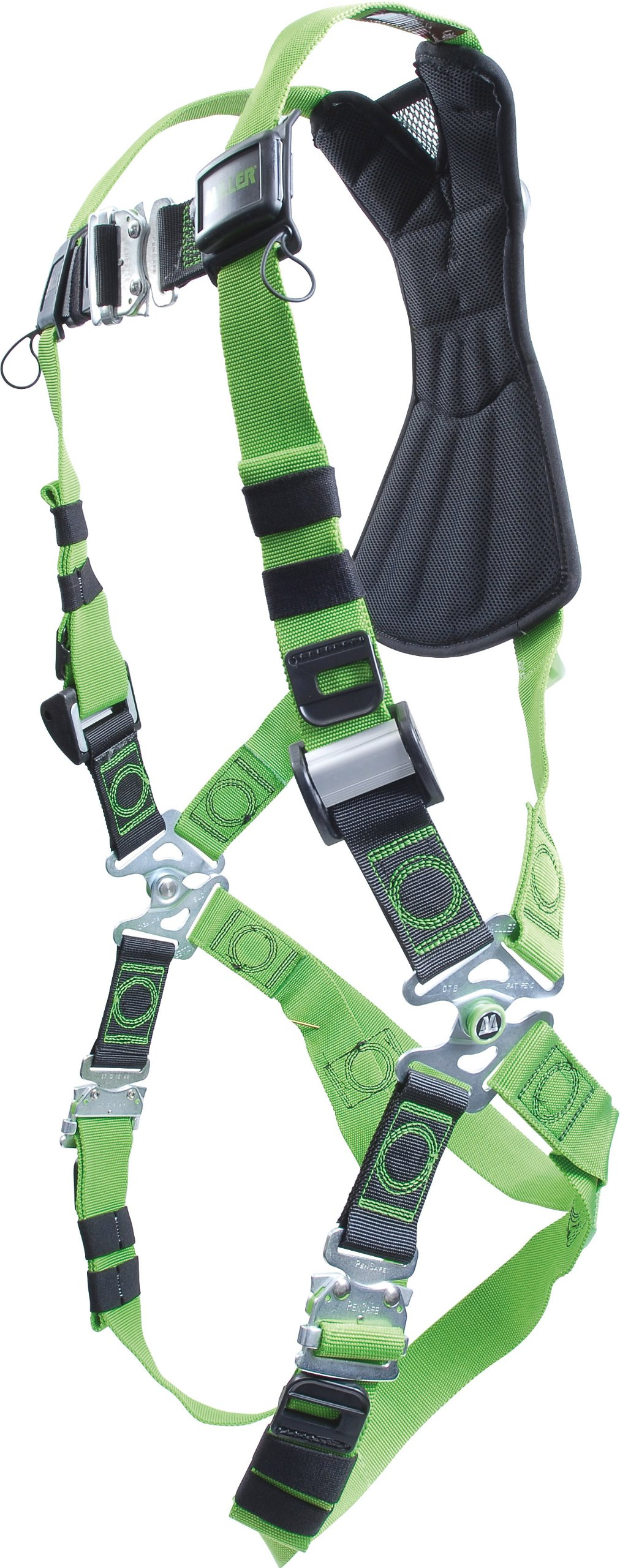 Miller RDF-QC/UGN Revolution Harness with DuraFlex Webbing and Quick-Connect Leg Buckles, Universal Size (Large/XL), Green