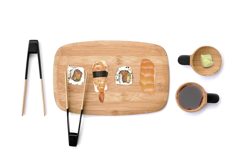 Pebbly nba056Servicio de Sushi en bamou: 2Pinzas con Sushi 2Cuencos para Salsas y 1Tabla de Servicio bambú Beige 22x 14x 2cm 5Unidad (S) AMZN
