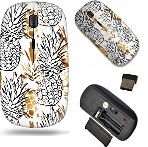 Unique Pattern Optical Mice Mobile Wireless Mouse 2.4G Portable for Notebook, PC, Laptop, Computer - Golden Pineapple