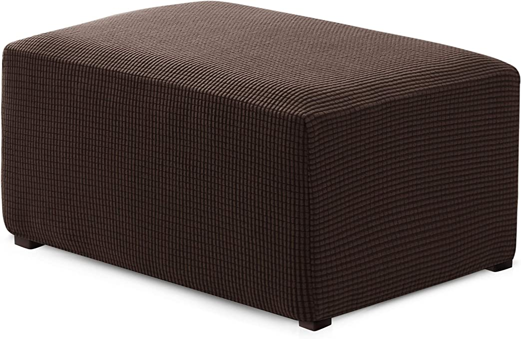 Hokway Ottoman Slipcovers Stretch Fabric Footrest Sofa Slipcovers Footstool Covers Storage Ottoman Protector Covers(Chocolate, Oversize)
