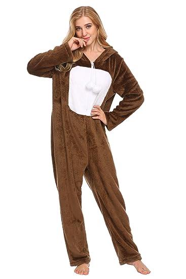 6705f9185e4a Amazon.com  L amore Women s Hooded Animal Onesies Warm Sleepwear One Piece  Pajama Set S-XXL  Clothing