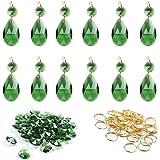 BIHRTC 12Pcs 38mm Galss Crystal Teardrop Chandelier Prisms Parts Hanging Galss Crystal Pendants Beads +50pcs Metal Split…