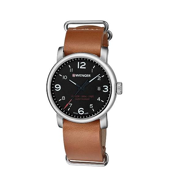 8dec30212b05 Wenger Reloj Analogico para Hombre de Cuarzo con Correa en Cuero  01.1041.136  WENGER  Amazon.es  Relojes