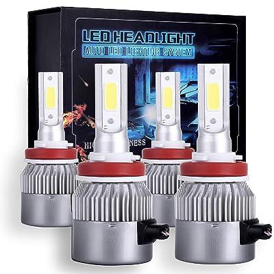 OCPTY H11+H11 LED Headlight Bulb, 160W 6000K 16000LM Hi/Lo Beam Conversion Kit LED Headlamp Super Brighter - 1 Years Warranty(4pcs): Automotive
