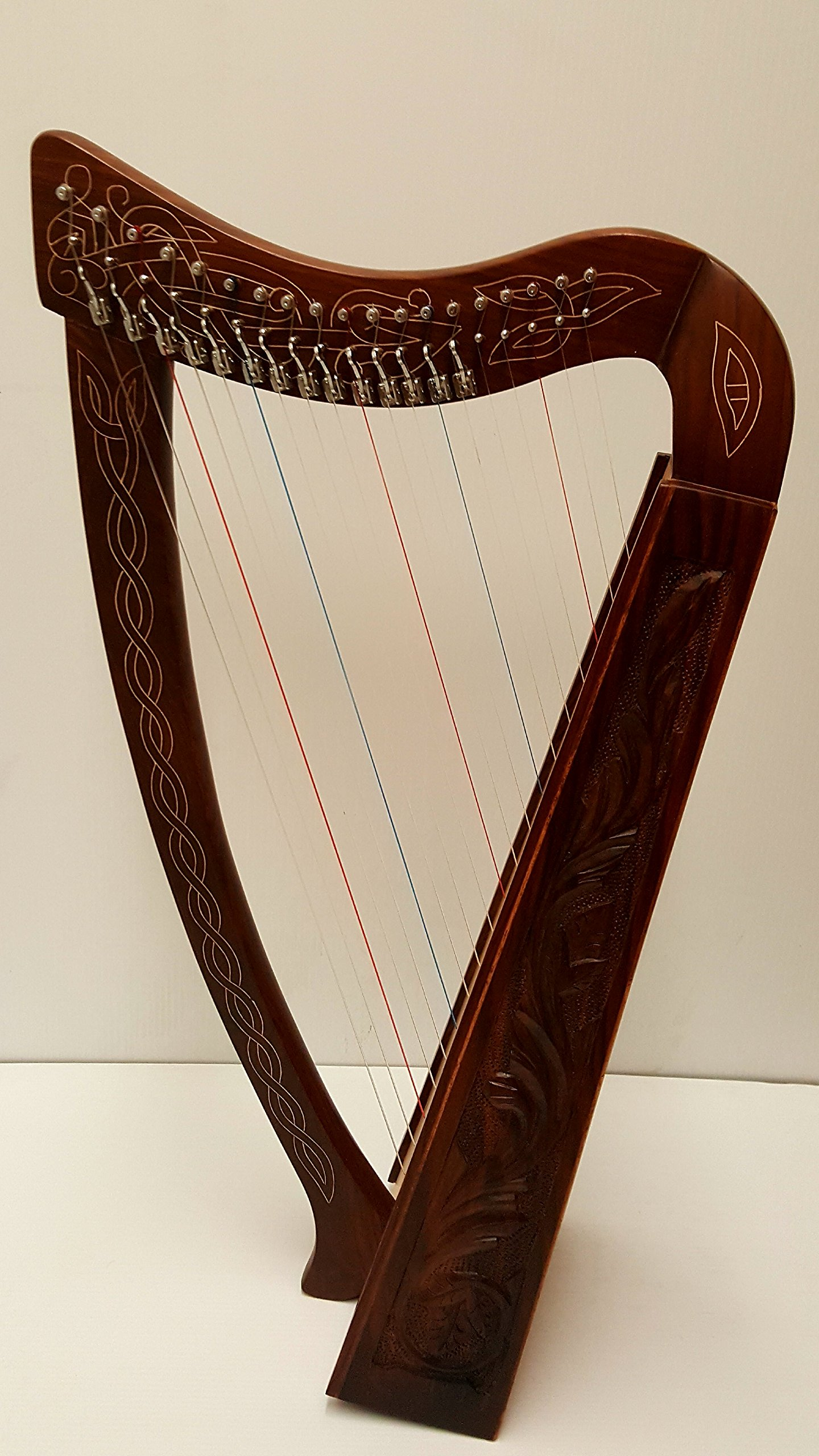 Celtic Irish Knee Harp 19 Strings with Levers Solid Wood Free Bag Strings Key by Sturgis
