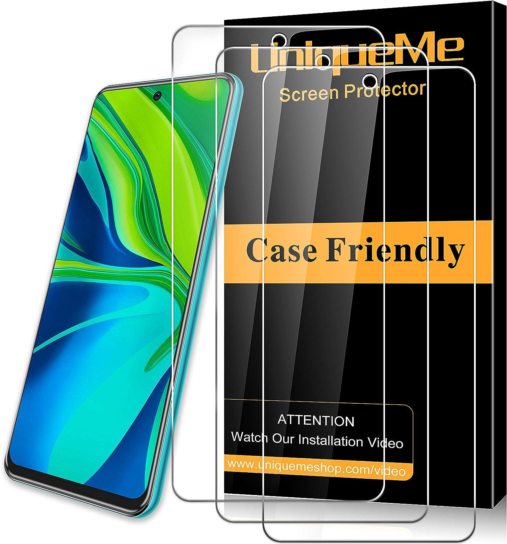 UniqueMe [3 Pack] Protector de Pantalla para Xiaomi Redmi Note 9S / Note 9 Pro/Note 9 Pro MAX, Cristal Templado [Sin Burbujas] HD Vidrio Film para Xiaomi Redmi Note 9S / Note 9 Pro/Note 9 Pro MAX
