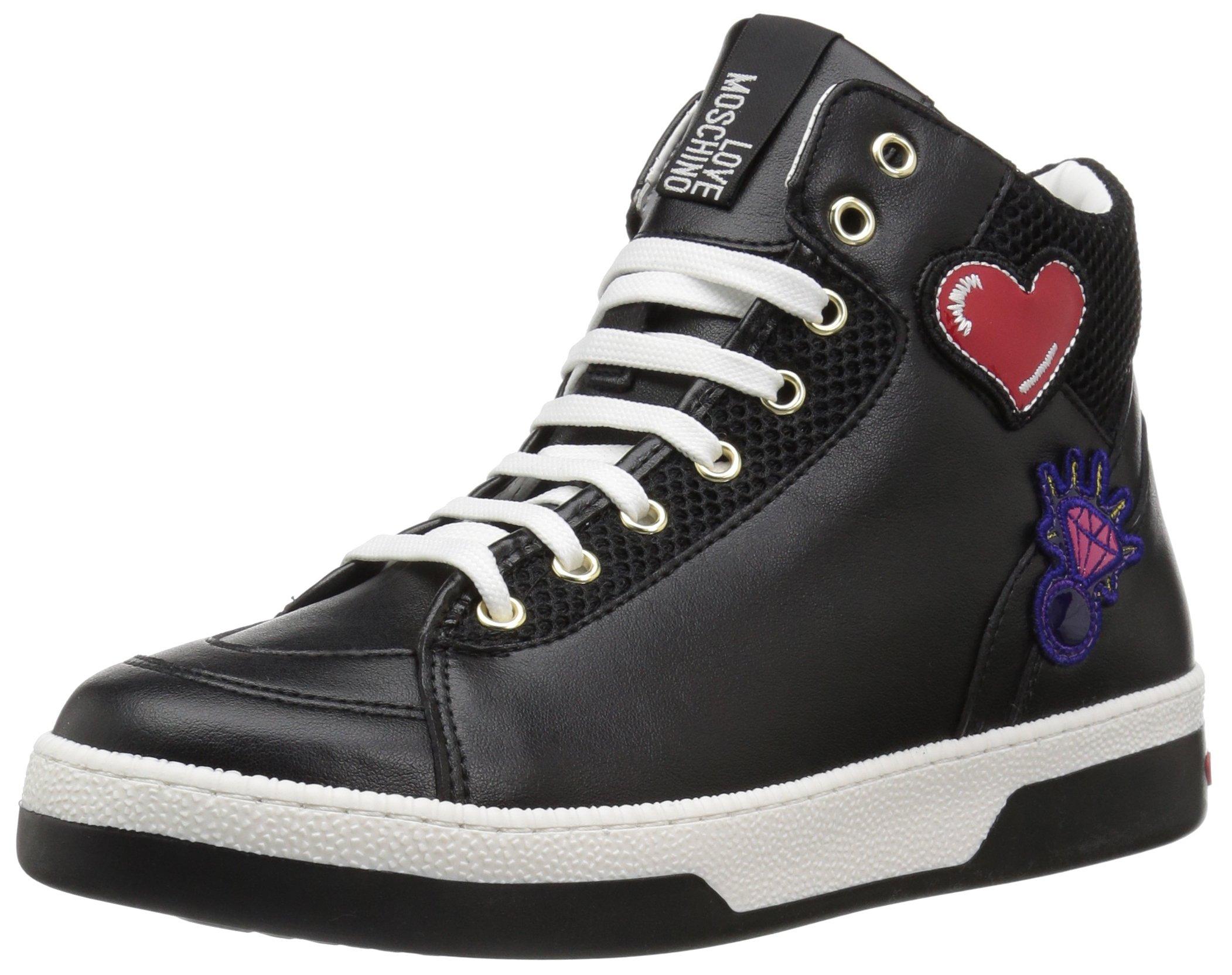 Love Moschino Women's JA15043G15IA100A Sneaker, Black Mesh, 38 M EU (7 US)