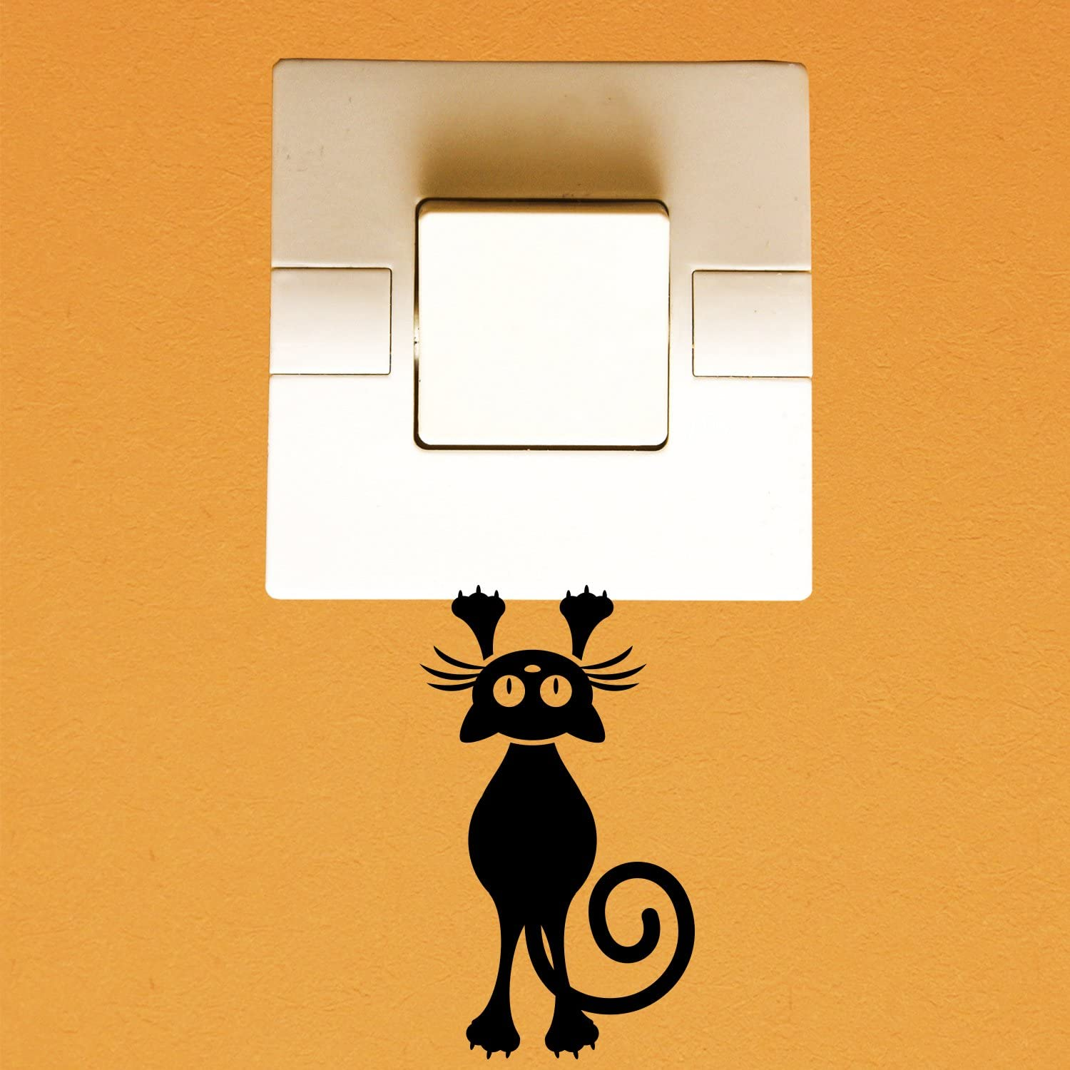 """Vinyl Wall Art Decal - Hanging Cat - 4"""" x 2.5"""" - Cute Animal Decor for Light Switch Window Mirror Luggage Car Bumper Laptop Computer Peel and Stick Skin Sticker Designs"""