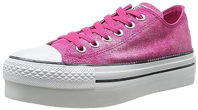 67e3eadb4ddd Converse Womens Chuck Taylor All Star Femme Sparkle Wash Platform OX  Trainers 382490 13 Rose 3.5