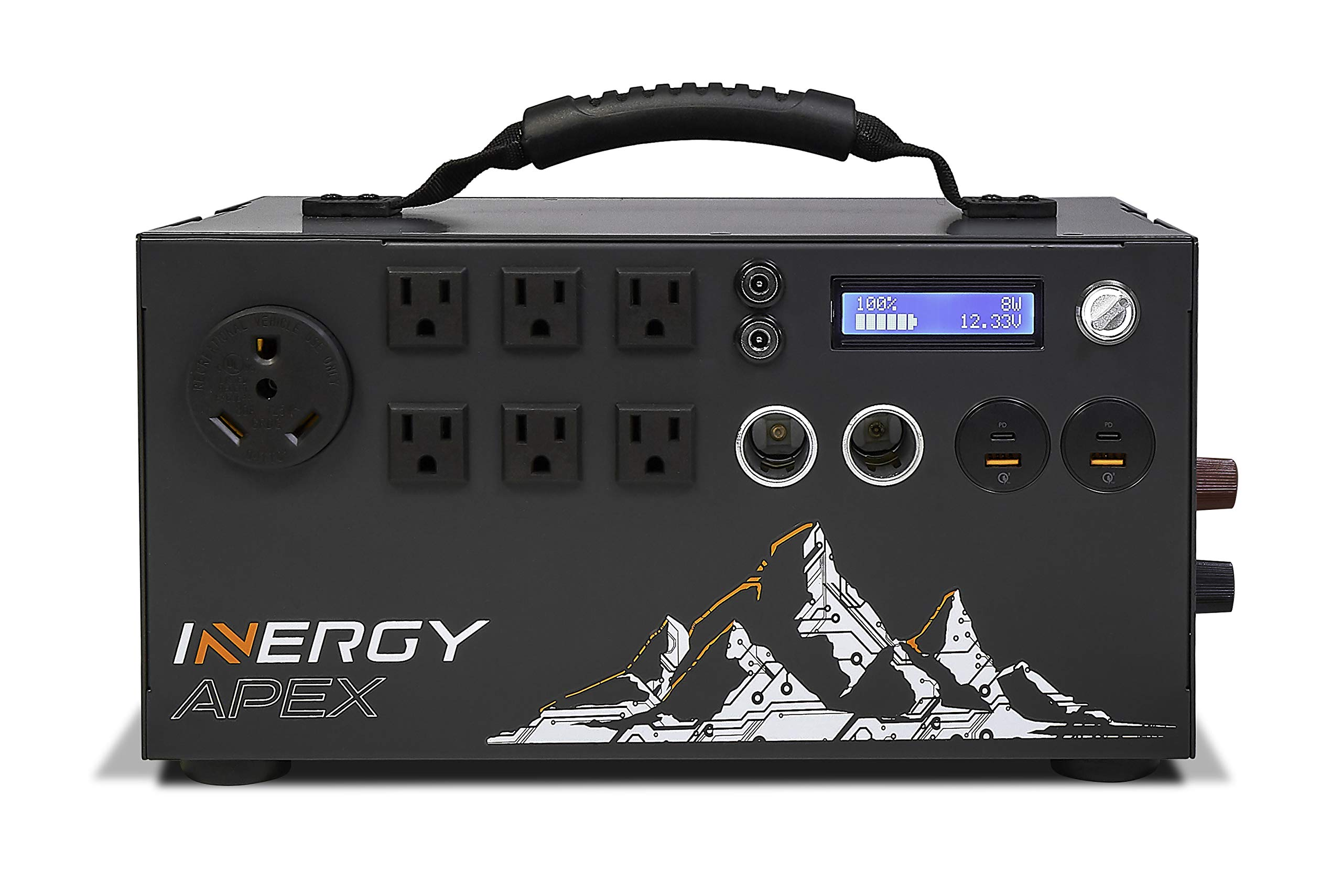 inergy Apex Lithium Portable Solar Power Station, 1100Wh Expandable Battery and Silent Alternative to Gas Generator 1500W Inverter (3000W Surge), 12V, USB-C, USB Quick Charge, 6 110-120 AC Outputs by inergy