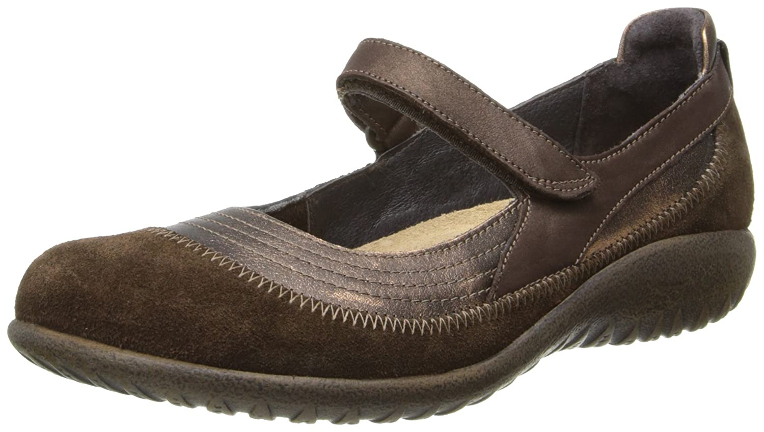 NAOT Footwear Women's Kirei Mary Jane Flat B005JHGISC 43 EU/11.5-12 M US|Burnt Copper Leather/Cocoa Suede/Brown Shimmer Nubuck