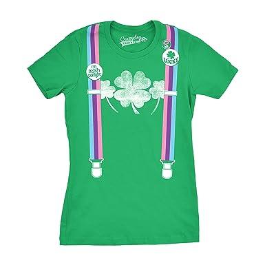 36a5c138 Womens Rainbow Suspenders Funny Shamrock Irish St. Patrick's Day T Shirt ( Green) S