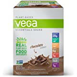 Vega Essentials Shake Chocolate (12 Count, 1.3 oz) - Plant Based Vegan Protein Powder, Non Dairy, Gluten Free, Smooth and Creamy, Non GMO