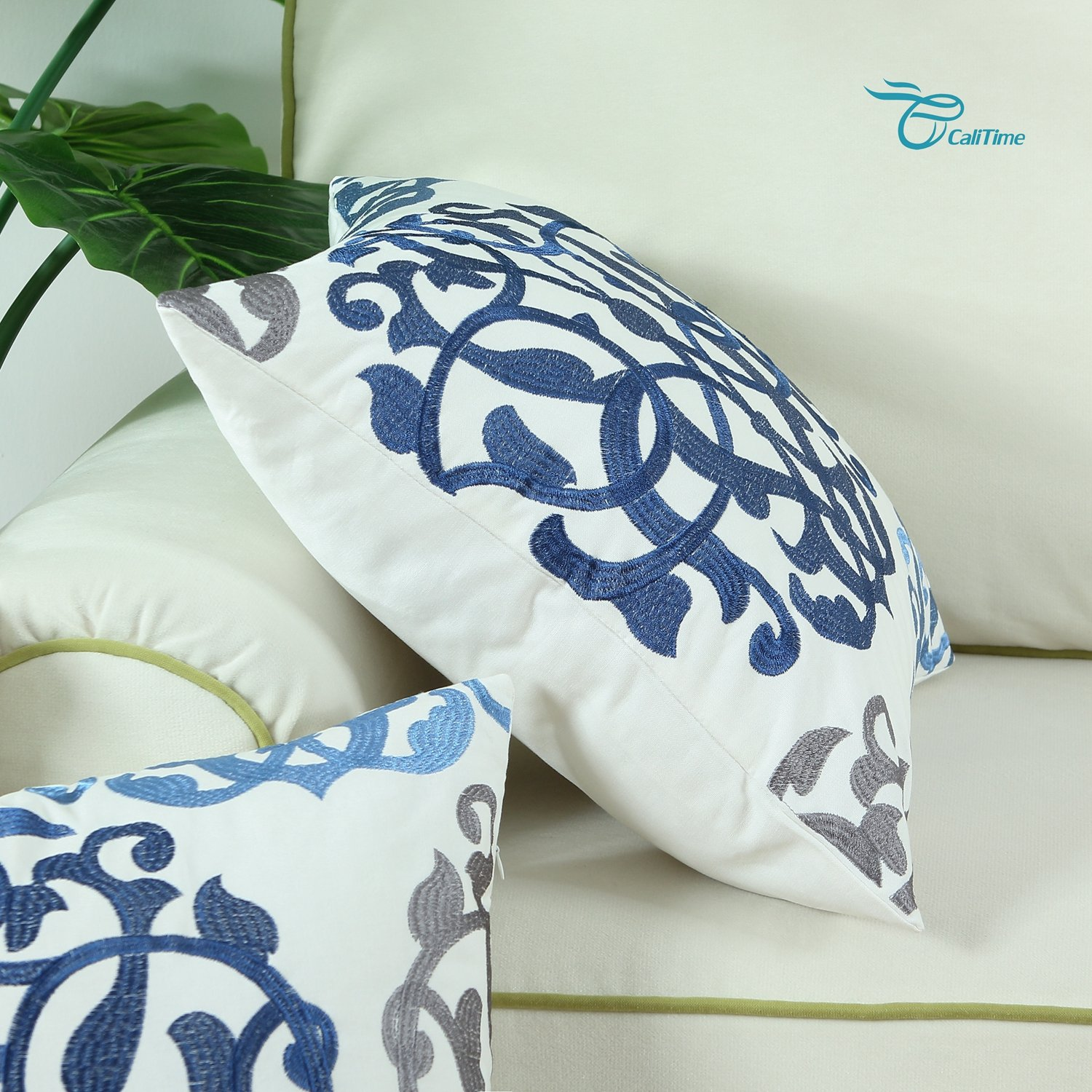 CaliTime Cotton Throw Pillow Case Cover for Bed Couch Sofa Vintage Compass Geometric Floral Embroidered 18 X 18 inches Blue Gray
