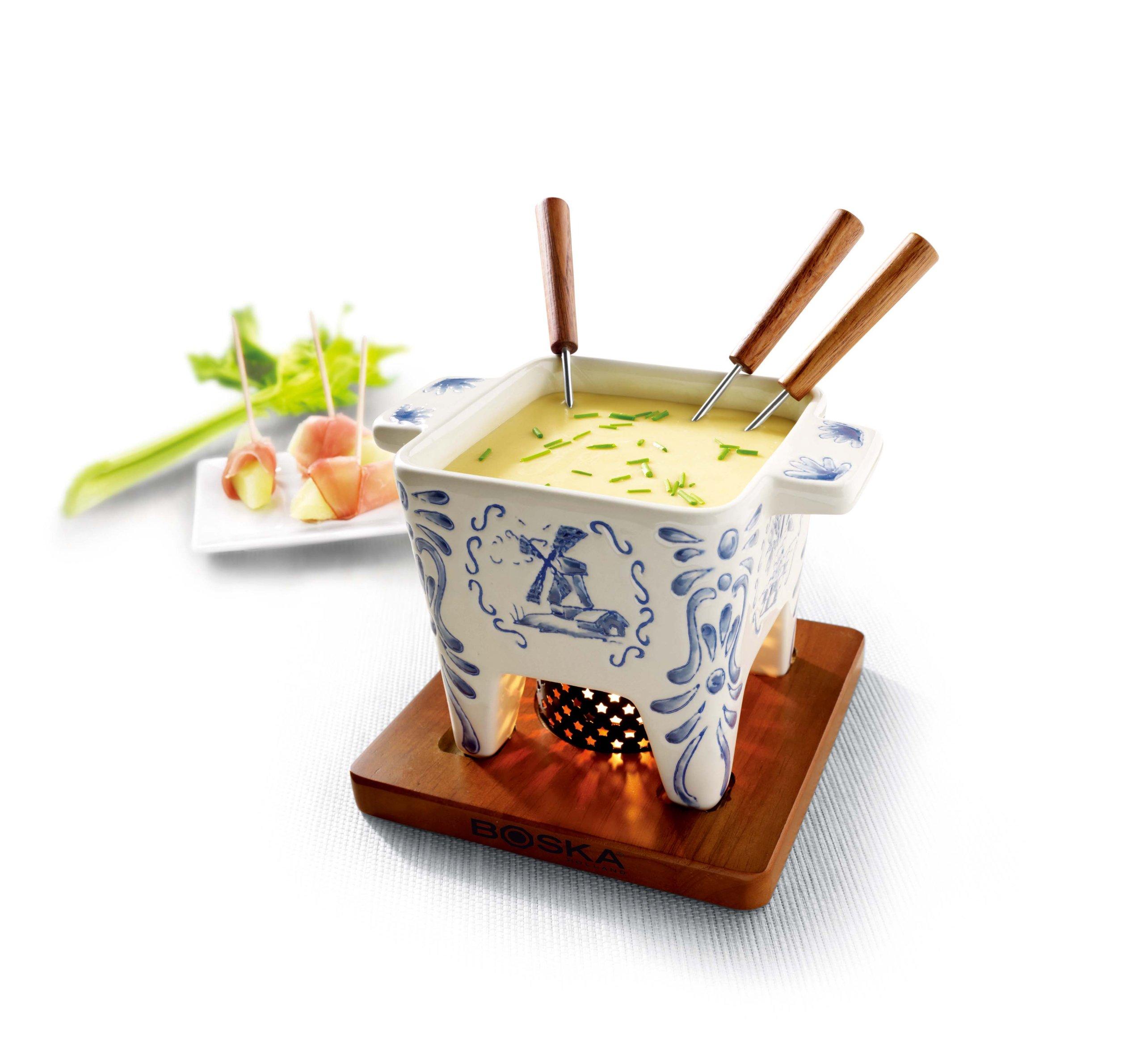 Boska Holland 853538 Boska Cheese Delft Blue Fondue Pot, 400 ml, White