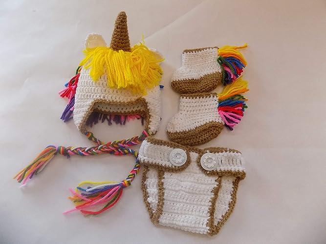 deac27b66 Amazon.com: Unicorn Hat - Crochet - Unicorn Photo Props: Handmade