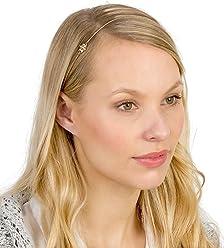 SIX Haarschmuck: Filigrane Haarkette mit elastischem Haargummi, ideale Passform, goldenes Kettenband mit Strass-Blüte, für jedes Haar geeign (252-821)